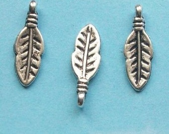 40 tiny rounded feather or leaf charms, antique silver tone, 17mm