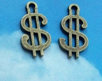 10 dollar sign charms, antique bronze tone, 18mm, SALE