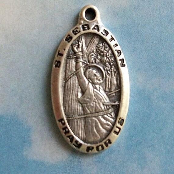 1 St. Sebastian medallion, silver plated, 30mm