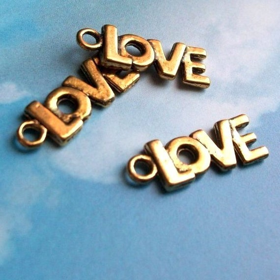 20 'Love' charms, antiqued gold tone, 21mm