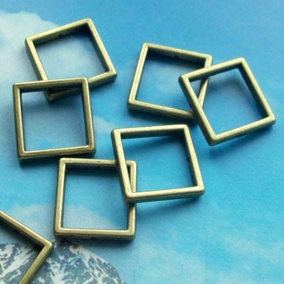 10 square frame spacer beads, antique brass, 17mm