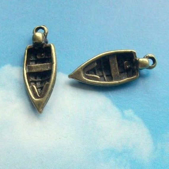 LAST ONES - 25 rowboat charms, 3D, bronze tone, 22mm, sALE