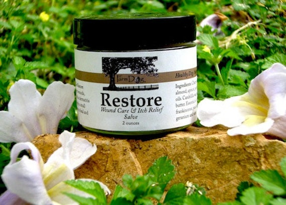 Restore Itch Relief Hot Spot Treatment Salve for Dogs.  Stops Itching On Contact.  Heals Flea Dermatitis and Heals Wounds