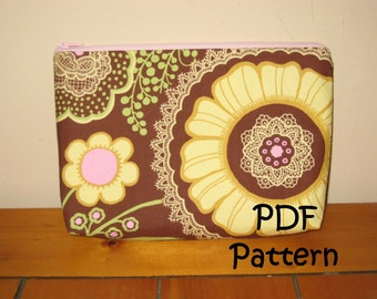 PATTERN for Zipper Make up Bag w/ Flat Bottom FQ Friendly PDF