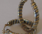 Yikes Stripes Hoops-sterling silver integrated 18K yellow gold earrings 14K hinged catches