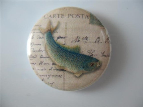 Fish 4 - 1 inch pinback button / magnet