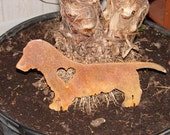 DACHSHUND Long Hair GARDEN STAKE Pet Memorial Yard Dog K9