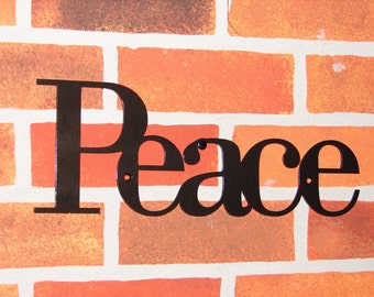 Peace INSPIRATIONAL WALL PLAQUE Metal art Decor Word