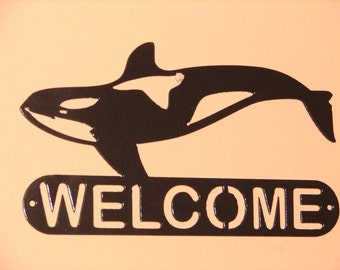 Orca Whale Metal Home WELCOME SIGN Wall Decor House