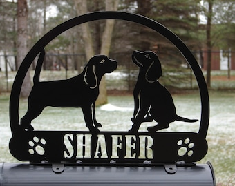 Beagle MAILBOX TOPPER Address Metal Pet Personalized K9 Sign
