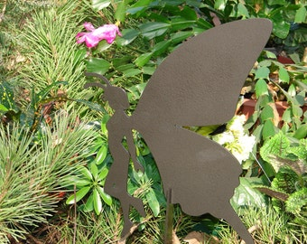 FAIRY SHADOW Garden Stake Yard Decor Lawn Ornament Metal Art Magical Mystical