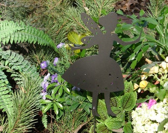 FAIRY SHADOW Garden Stake Yard Decor Lawn Ornament Metal Art Magical Mystical 6