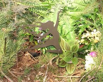 FAIRY SHADOW Garden Stake Yard Decor Lawn Ornament Metal Art Magical Mystical 12