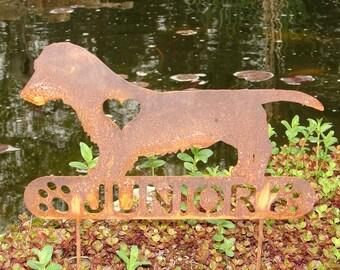 Dachshund Longhair PET MEMORIAL Garden Stake Yard Ornament Lawn Weiner Dog