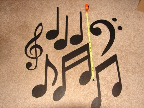 METAL WALL ART Music Note Decor Musical Large Set Home Patio
