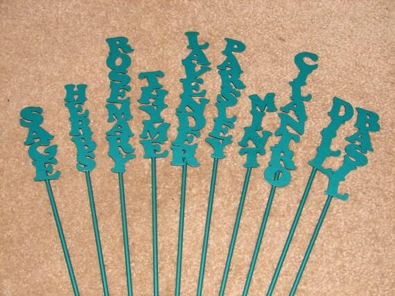 Metal Herb GARDEN STAKE SET Of 10 Marker Label Row