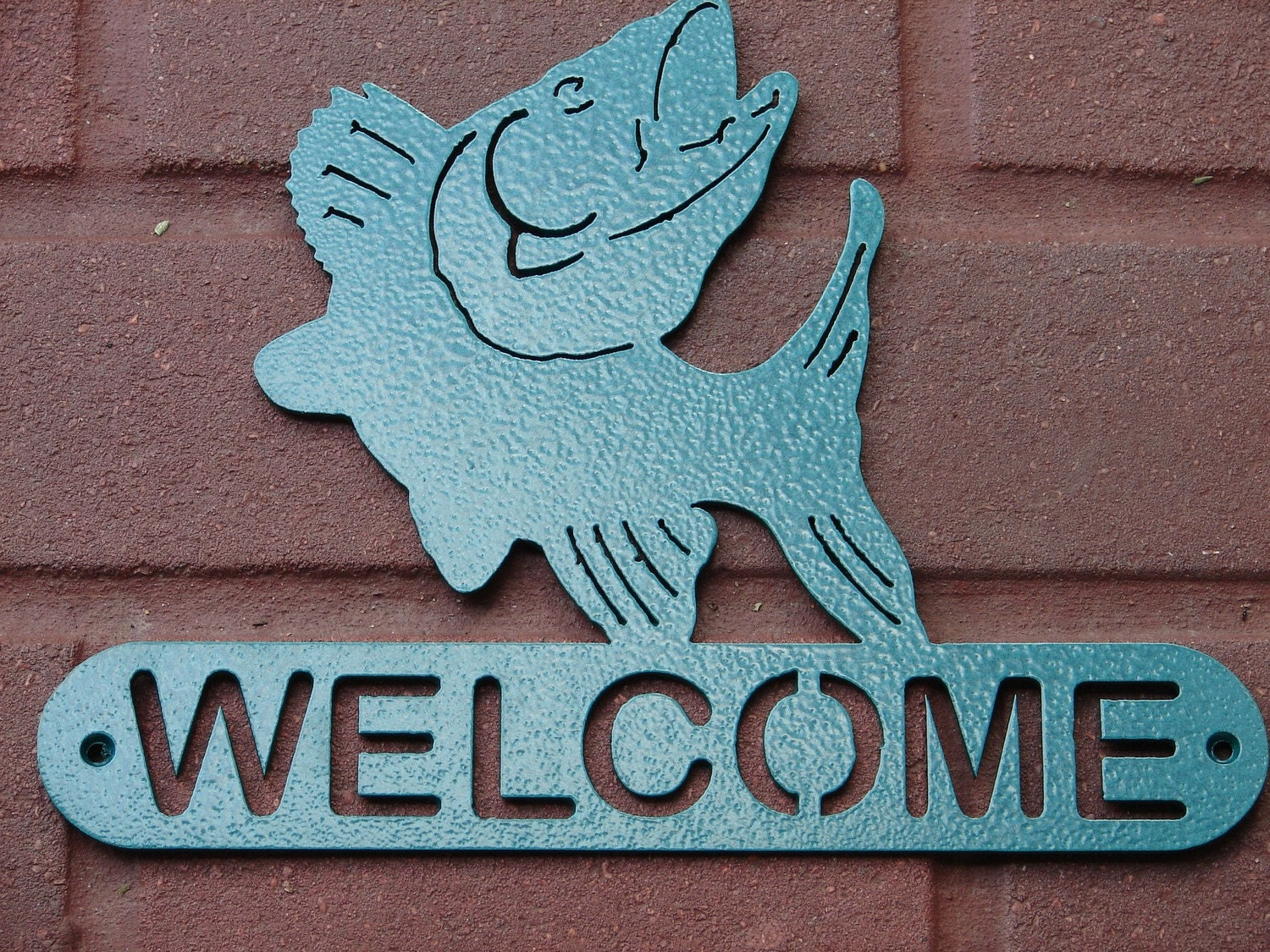Walleye WELCOME SIGN Home Decor Metal Cabin Plaque by