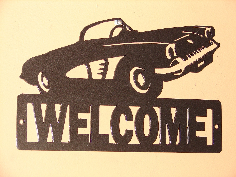 vintage corvette welcome sign home decor metal chevrolet car new drink menu chic home bar vintage metal signs home