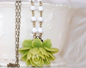 Free SHIPPING Green Rose Cabochon Necklace Cabbage rose Flower Vintage Milk GLass Beads Shabby Chic Girly Summer
