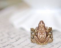 Baby Frog  Antiqued Brass Ring