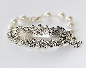French Bracelette  Silver Ornate Victorian Pearl Paris Retro Old Hollywood Pearls white Bridal