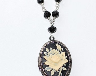 FREE SHIPPING Gothic Wicked Rose Cameo Locket necklace Vintage Jet Beads Silver plate