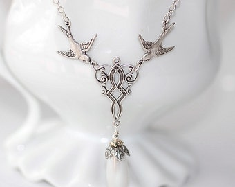 FREE SHIPPING Sparrow Pearl Pendant Necklace Silver Plated White Filigree  Bridal Brides Weddings Statement elegant Swallows