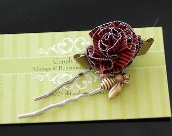 FREE SHIPING French Ribbon rosette Bobby pin gold bee barrette bridal bridesmaids girly shabby chic