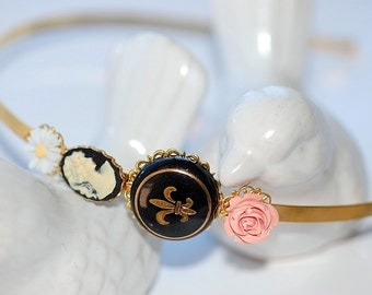 Hairband French Blossom Cameo Headband flower pink Black feminie retro romantic shabby chic bridal bride wedding girlry girl old hollywood