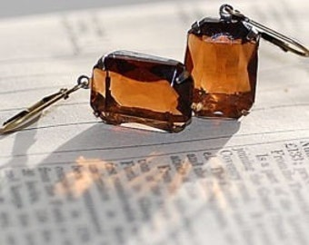 FREE Shipping Vintage Estate Smoke Topaz Earrings Holiday Bridal Weddings old hollywood Classic Evening Drop Brown Transparent