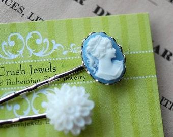 Barrette Lily Blue Cameo white flower shabby chic romantic retro feminine english charm girl girly bridal wedding