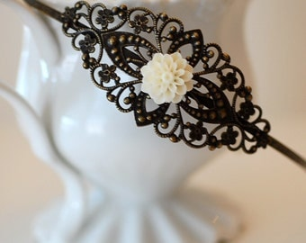 FREE SHIPPING Hairband French Blossom Cameo Headband flower  retro romantic shabby chic bridal bride wedding girlry girl old hollywood