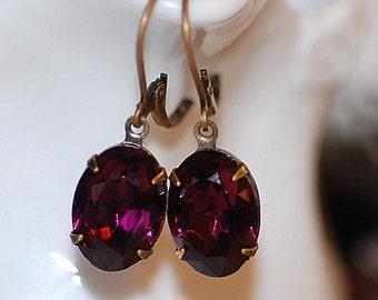 FREE SHIPPING Vintage Amethyst Estate Earrings German Crystal Dangle Purple Oval Stones Classic Elegant