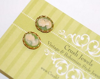 FREE SHIPPING Vintage Olive  Earrings Cameo  Earrings Studs Posts Green Small Dainty Everyday Classic Wedding brides Bridesmaids