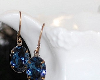 Free SHIPPING Vintage Montana Blue German Crystal Earrings Navy Blue Oval Small Classic Elegant