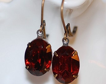 FREE SHIPPING Vintage Earrings Small Siam Red German Crystal Earrings Estate old world Classic Dainty Small Dangle Antiqued brass