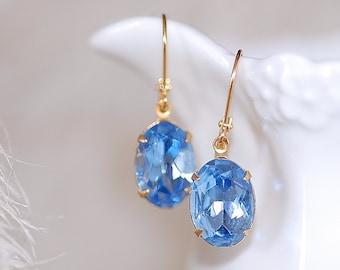 Free Shipping Estate Earrings Sapphire Vintage Blue oval old Hollywood Retro Bridal Rhinestone Glass Jewel