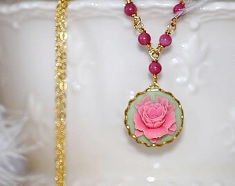 Pink Please Cabbage Rose Cameo Necklace