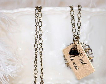 FREE SHIPPING Necklace French Paris Cést la Vie  filigree flower black charm old hollywood antiqued brass chic elegant words