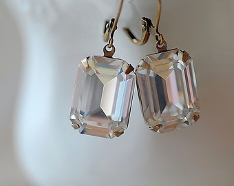 FREE Shipping Estate Vintage Clear Swarovski Earrings Emerald Cut Large Classic Evening Weddings Bridal Special Occassion