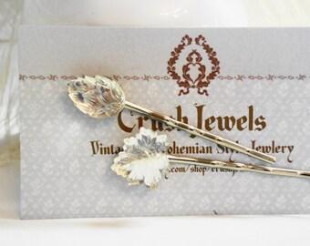 Free shipping Barrettes  Vintage Glass Leaves Crystal retro Bridal Wedding Victorian old hollywood shabby chic girly girl feminine romantic