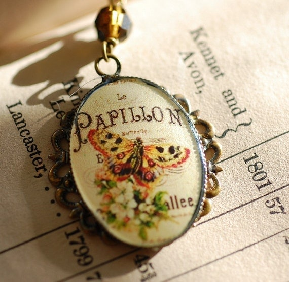 FREE SHIPPING Butterfly Cameo Necklace Papillon French Vintage style Topaz Crystals beaded Chain Old Hollywood Victorian Retro French Paris
