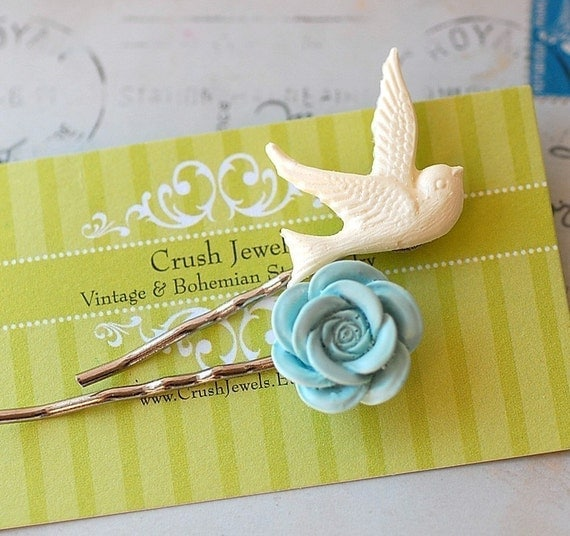 Free Shipping Sparrow and Blossom barrette birds Flowers Girly Shabby chic Style White Blue country Cottage