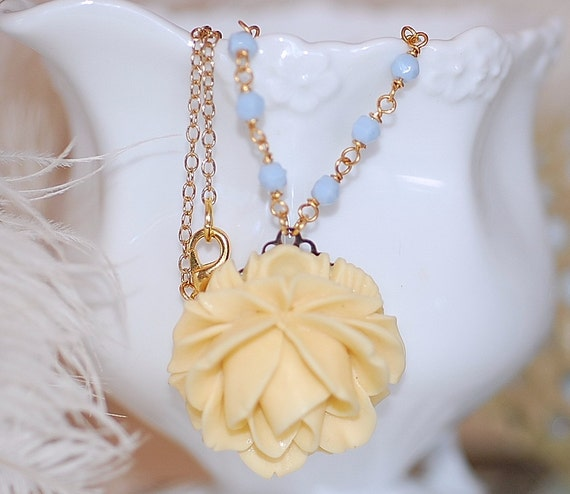 Rose Necklace Yellow Cabbage Rose beaded Blue bridal Shabby chic Gold chain Retro Cabochon