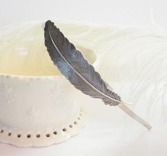 Feather Headband Hairband Hair  Silver Retro Old Hollywood Bridal Girly Shabby chic Vintage Look