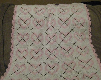 Crocheted Baby Afghan Blanket with Hearts