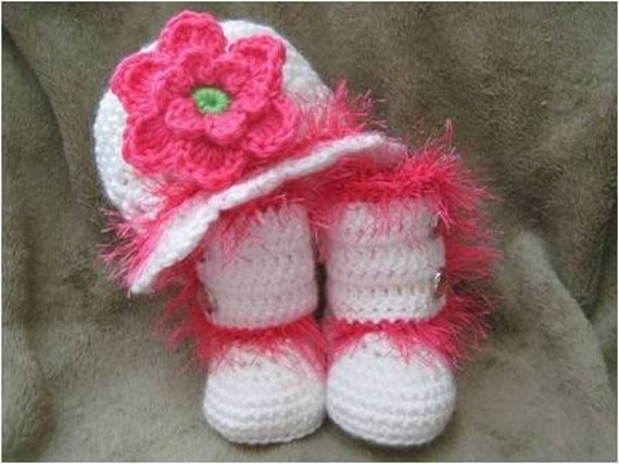 Sizes 0-3 or 3-6 Months - Fun Funky Fur Trim Infant Boots and Hat