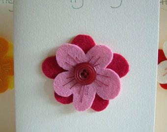 Birthday Card - Flower - Wool Felt - Button - Decoration