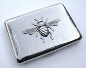 Cigarette Case Silver Bee / Metal Wallet / Credit Card Holder / Business Card Case - Silver Plated with Raised Silver Bee - Victorian Art Nouveau - ORIGINAL Design by Cosmic Firefly