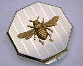 Mirror Compact Case Silver Plated Octagon with Raised Brass Bee - Victorian STEAMPUNK Accessories - Original Design from Cosmic Firefly